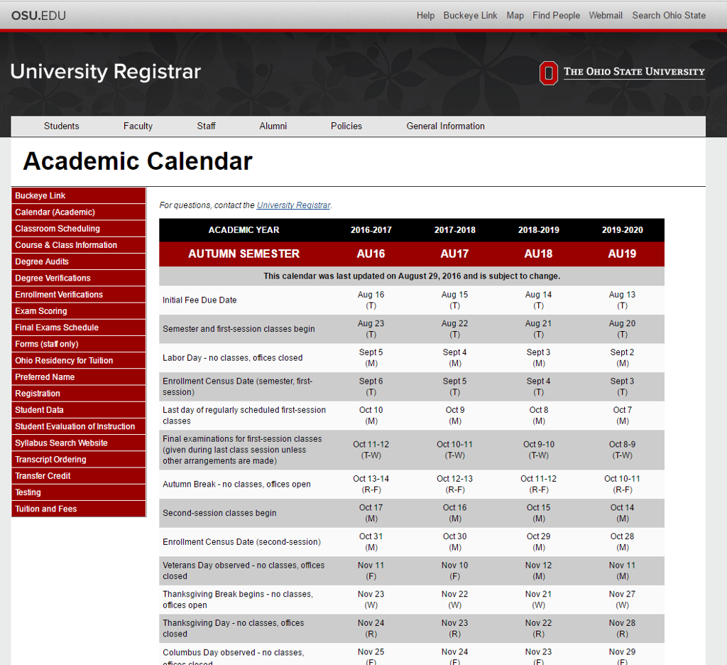 Osu 2021 Academic Calendar Academic Calendar (University dates and deadlines) | buckeyelink