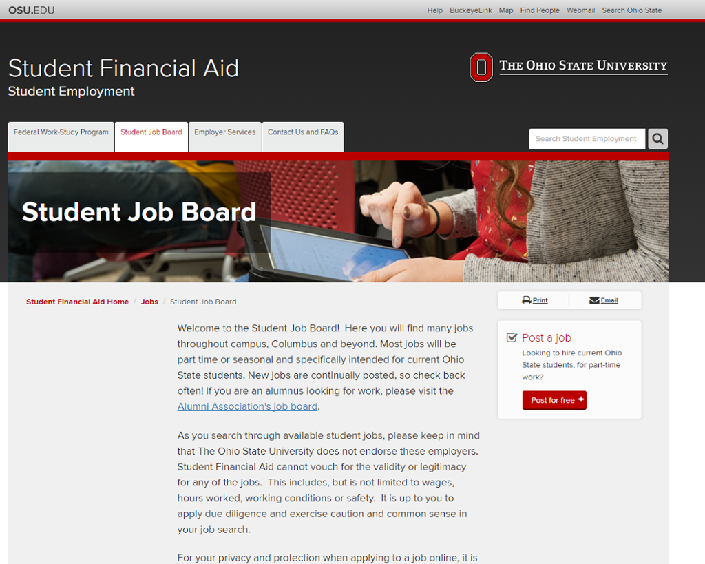 student employment and student jobs job board for students screenshots