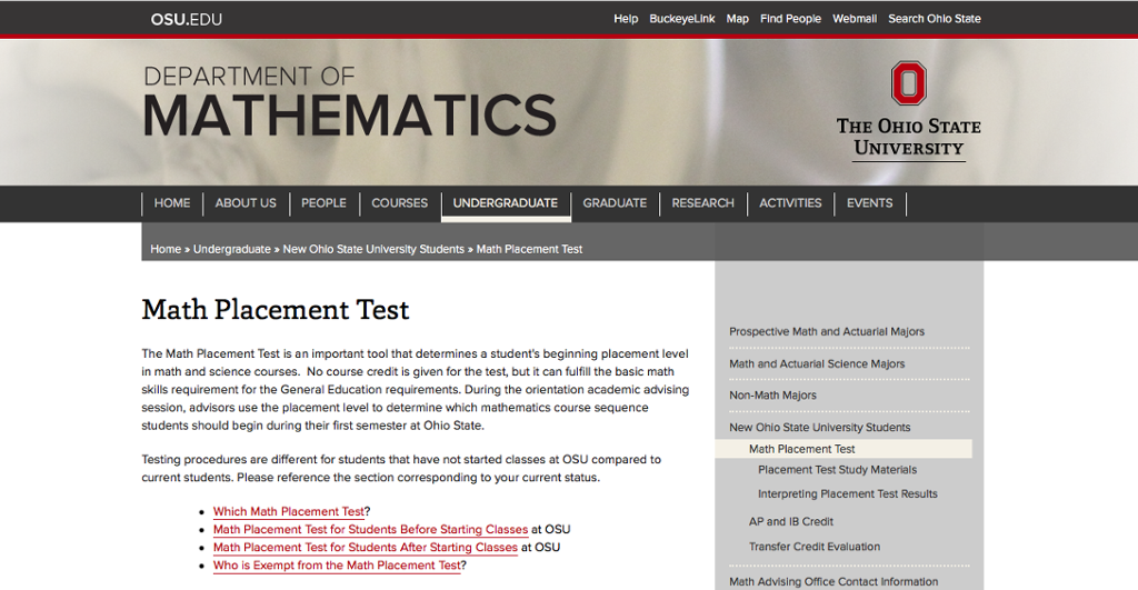Math Placement Test (Required for enrollment) | buckeyelink